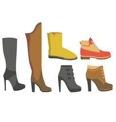 shoe boots and women fall or winter footwear vector image