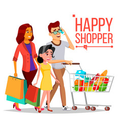 shopping woman happy family couple vector image