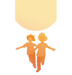 Silhouettes two happy boys running with open vector