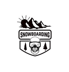 Snowboarding emblem with snowboarder design vector