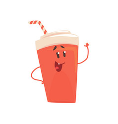 soda drink cartoon character element for menu of vector image