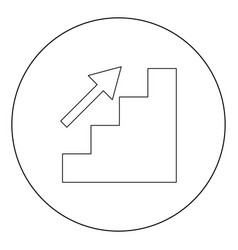 stairs growth icon black color in circle vector image