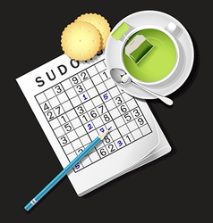 Sudoku Game Mug Of Green Tea And Cracker vector image