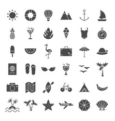 summer travel solid web icons vector image