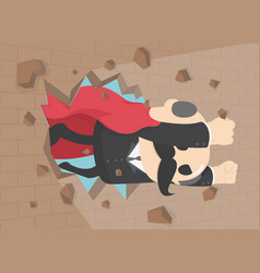 super businessman punches the wall employee vector image
