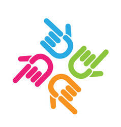 team of pointing hands logo vector image