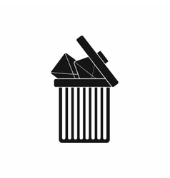 Trash can icon with envelopes icon simple style vector