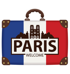 Travel suitcase with french flag and notre dame vector