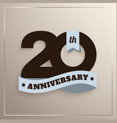 twenty years anniversary logo with blue ribbon vector image
