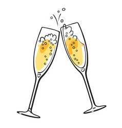 two sparkling glasses champagne vector image