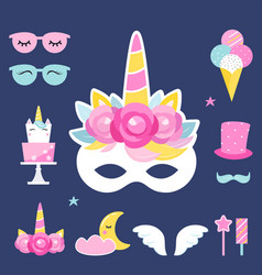 Unicorn birthday or slumber party photo props and vector