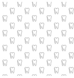 unique tooth seamless pattern with various icons vector image