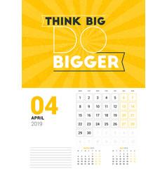 wall calendar template for april 2019 design vector image