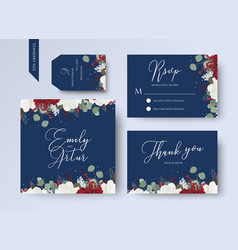 wedding floral invite thank you rsvp card design vector image