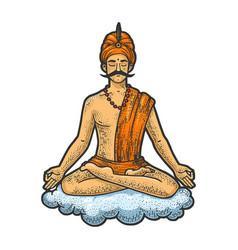 yogi meditating floating on cloud sketch vector image
