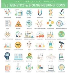 Genetics and bioengineering flat icon set vector image vector image