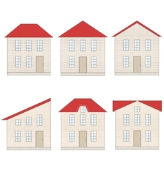 Set of brick houses with different red tile roofs vector image