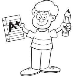 Cartoon Boy Holding a Pencil vector image vector image