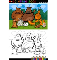 forest wild animals cartoon for coloring book vector image vector image