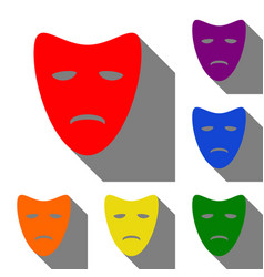tragedy theatrical masks set of red orange vector image