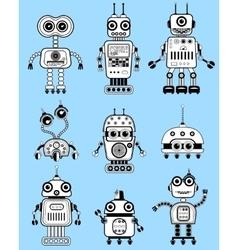 Black and white cut retro robots set vector image vector image