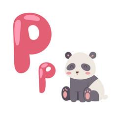 cute zoo alphabet with cartoon animal panda vector image