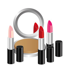 face powder with lipsticks icon vector image
