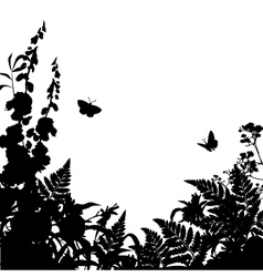 Herbs Flowers Silhouette Background vector image