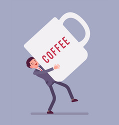 man carrying giant coffee mug vector image