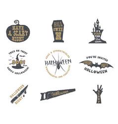 set of halloween silhouette badges vintage hand vector image vector image
