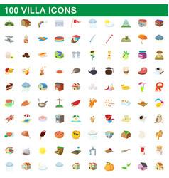 100 villa icons set cartoon style vector image vector image