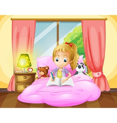 A girl writing inside her room vector image