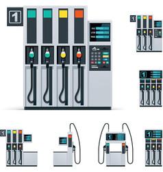 gas station pumps set vector image