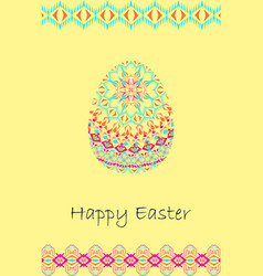 happy easter background with easter egg and tribal vector image vector image