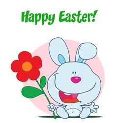 Happy Easter Greeting Over Sitting Blue Bunny vector image vector image