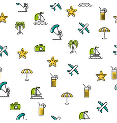 seamless pattern with summer icons vector image