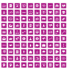 100 e-commerce icons set grunge pink vector