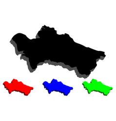 3d map of turkmenistan vector image
