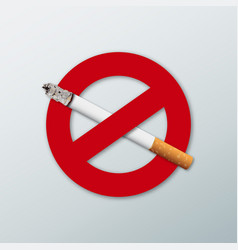 3d no smoking sign with a realistic cigarette vector image