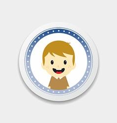 Adorable boy cartoon character label vector