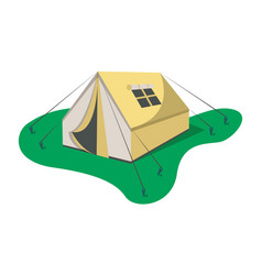 Adventure camp tent icon isolated vector