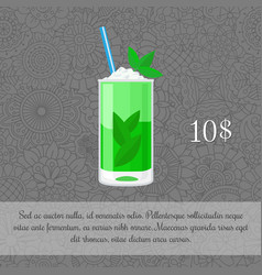 alcoholic mojito cocktail card template vector image