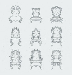 Antique italian chairs and armchair vector