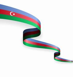 Azerbaijani flag wavy abstract background vector