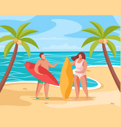 beach summer concept composition vector image