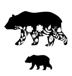 Bear silhouette floral cutout vector