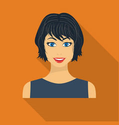 Black hair woman icon in flate style isolated on vector
