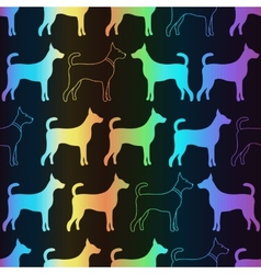 bright spectrum seamless pattern dog vector image