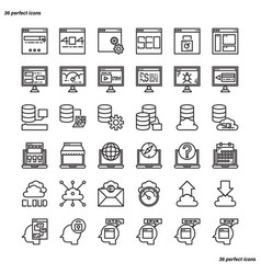 browser and interface outline icons perfect pixel vector image