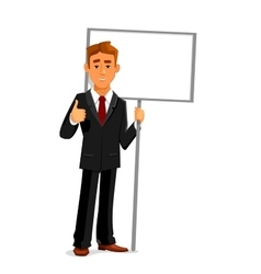 Businessman with an empty sign board and thumb up vector image